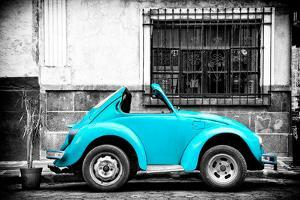¡Viva Mexico! B&W Collection - Small Turquoise VW Beetle Car by Philippe Hugonnard