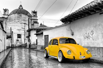 ¡Viva Mexico! B&W Collection - Yellow VW Beetle Car in San Cristobal de Las Casas by Philippe Hugonnard