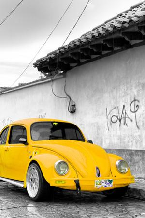 ¡Viva Mexico! B&W Collection - Yellow VW Beetle in San Cristobal de Las Casas