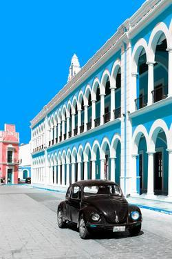 ¡Viva Mexico! Collection - Black VW Beetle and Blue Architecture - Campeche by Philippe Hugonnard