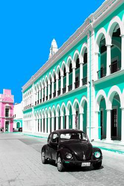 ¡Viva Mexico! Collection - Black VW Beetle and Coral Green Architecture - Campeche by Philippe Hugonnard
