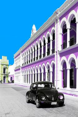 ¡Viva Mexico! Collection - Black VW Beetle and Mauve Architecture - Campeche by Philippe Hugonnard