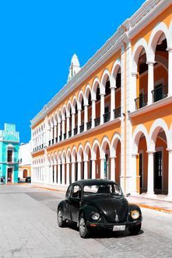¡Viva Mexico! Collection - Black VW Beetle and Orange Architecture - Campeche by Philippe Hugonnard