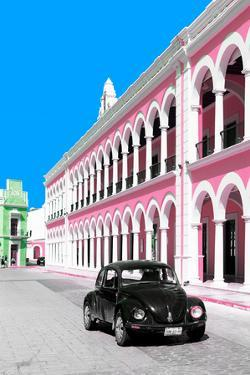 ¡Viva Mexico! Collection - Black VW Beetle and Pink Architecture - Campeche by Philippe Hugonnard