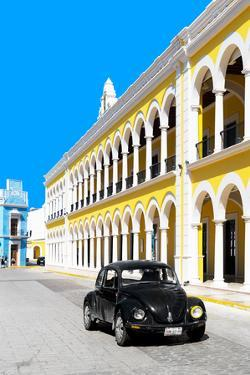 ¡Viva Mexico! Collection - Black VW Beetle and Yellow Architecture - Campeche by Philippe Hugonnard