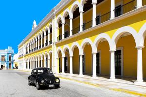 ¡Viva Mexico! Collection - Black VW Beetle and Yellow Architecture in Campeche by Philippe Hugonnard