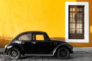 ¡Viva Mexico! Collection - Black VW Beetle Car with Gold Street Wall by Philippe Hugonnard