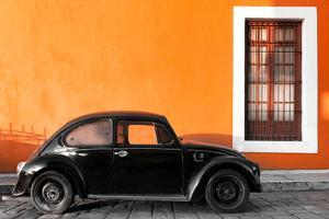 ¡Viva Mexico! Collection - Black VW Beetle Car with Orange Street Wall by Philippe Hugonnard