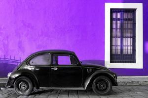 ¡Viva Mexico! Collection - Black VW Beetle Car with Purple Street Wall by Philippe Hugonnard