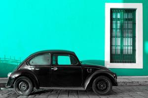 ¡Viva Mexico! Collection - Black VW Beetle Car with Turquoise Street Wall by Philippe Hugonnard