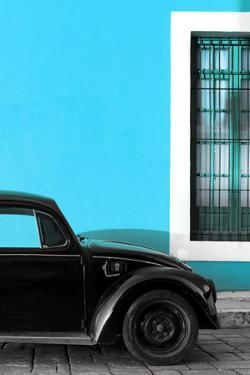 ¡Viva Mexico! Collection - Black VW Beetle with Blue Street Wall by Philippe Hugonnard