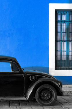 ¡Viva Mexico! Collection - Black VW Beetle with Dark Blue Street Wall by Philippe Hugonnard