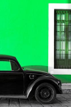 ¡Viva Mexico! Collection - Black VW Beetle with Green Street Wall by Philippe Hugonnard