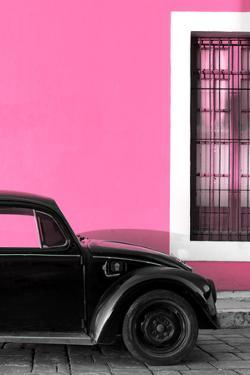 ¡Viva Mexico! Collection - Black VW Beetle with Hot Pink Street Wall by Philippe Hugonnard