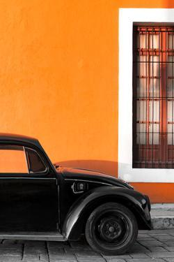 ¡Viva Mexico! Collection - Black VW Beetle with Orange Street Wall by Philippe Hugonnard