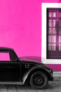 ¡Viva Mexico! Collection - Black VW Beetle with Pink Street Wall by Philippe Hugonnard