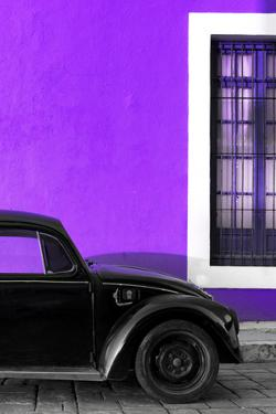 ¡Viva Mexico! Collection - Black VW Beetle with Purple Street Wall by Philippe Hugonnard