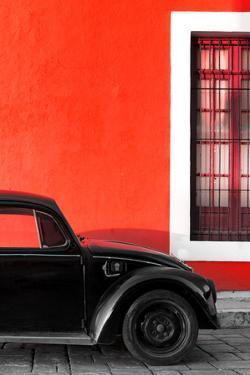 ¡Viva Mexico! Collection - Black VW Beetle with Red Street Wall by Philippe Hugonnard
