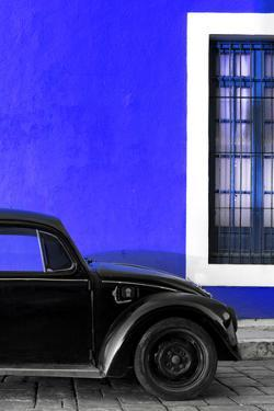 ¡Viva Mexico! Collection - Black VW Beetle with Royal Blue Street Wall by Philippe Hugonnard
