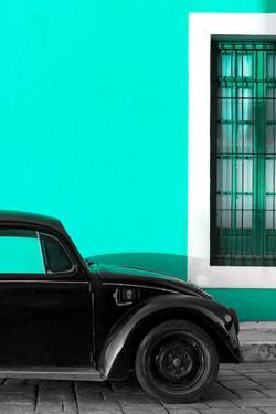 ¡Viva Mexico! Collection - Black VW Beetle with Turquoise Street Wall by Philippe Hugonnard