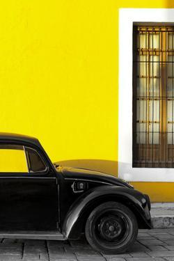 ¡Viva Mexico! Collection - Black VW Beetle with Yellow Street Wall by Philippe Hugonnard