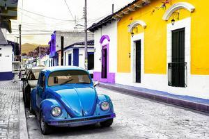 ¡Viva Mexico! Collection - Blue VW Beetle Car and Colorful Houses by Philippe Hugonnard