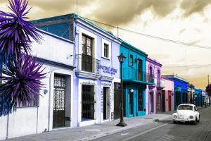 ¡Viva Mexico! Collection - Colorful Facades and White VW Beetle Car III by Philippe Hugonnard
