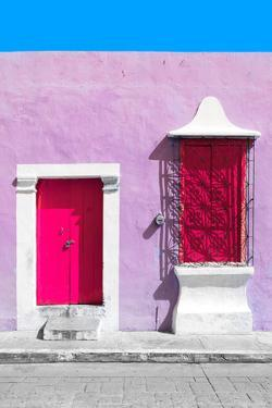 ¡Viva Mexico! Collection - Deep Pink and Thistle Facade - Campeche by Philippe Hugonnard