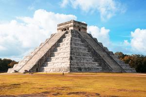 ¡Viva Mexico! Collection - El Castillo Pyramid with Fall Colors in Chichen Itza by Philippe Hugonnard