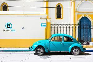 "¡Viva Mexico! Collection - ""En Linea Roja"" Blue VW Beetle Car by Philippe Hugonnard"