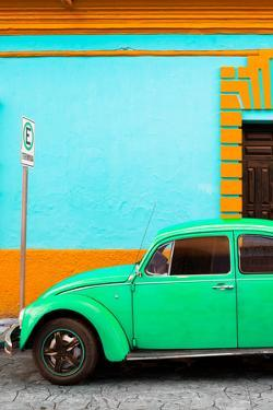 ¡Viva Mexico! Collection - Green VW Beetle Car and Colorful Wall by Philippe Hugonnard