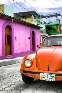 ¡Viva Mexico! Collection - Orange VW Beetle Car in a Colorful Street by Philippe Hugonnard