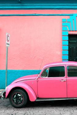 ¡Viva Mexico! Collection - Pink VW Beetle Car and Colorful Wall by Philippe Hugonnard