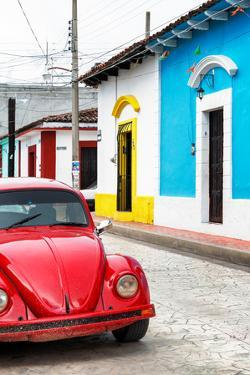 ¡Viva Mexico! Collection - Red VW Beetle Car and Colorful Houses II by Philippe Hugonnard