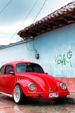 ¡Viva Mexico! Collection - Red VW Beetle Car on a street in San Cristobal II by Philippe Hugonnard