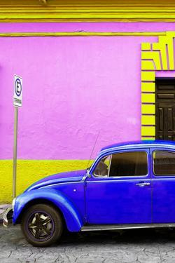 ¡Viva Mexico! Collection - Royal Blue VW Beetle Car and Colorful Wall by Philippe Hugonnard