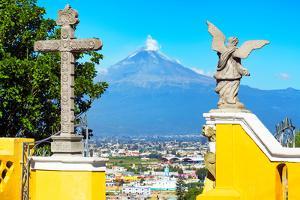 ¡Viva Mexico! Collection - Santuario Cholula and Popocatepetl Volcano in Puebla II by Philippe Hugonnard