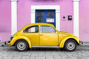 ¡Viva Mexico! Collection - The Gold VW Beetle Car with Light Pink Street Wall by Philippe Hugonnard