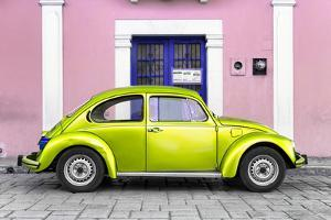 ¡Viva Mexico! Collection - The Lime Green VW Beetle Car with Light Pink Street Wall by Philippe Hugonnard