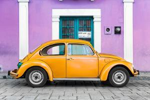 ¡Viva Mexico! Collection - The Orange VW Beetle Car with Mauve Street Wall by Philippe Hugonnard