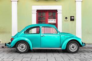 ¡Viva Mexico! Collection - The Teal VW Beetle Car with Lime Green Street Wall by Philippe Hugonnard