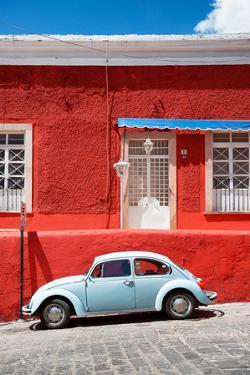 ¡Viva Mexico! Collection - VW Beetle Car and Red Wall by Philippe Hugonnard