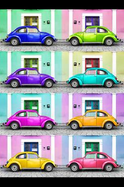 ¡Viva Mexico! Collection - VW Beetle Cars with Colors Street Wall by Philippe Hugonnard