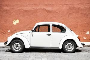 ¡Viva Mexico! Collection - White VW Beetle Car and Brown Street Wall by Philippe Hugonnard