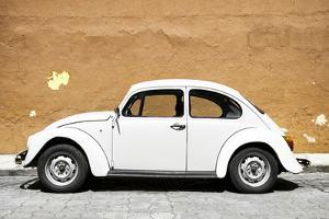 ¡Viva Mexico! Collection - White VW Beetle Car and Caramel Street Wall by Philippe Hugonnard