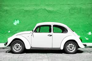 ¡Viva Mexico! Collection - White VW Beetle Car and Green Street Wall by Philippe Hugonnard