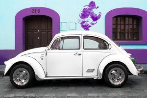 ¡Viva Mexico! Collection - White VW Beetle Car and Purple Graffiti by Philippe Hugonnard