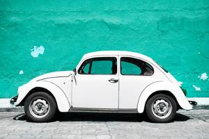 ¡Viva Mexico! Collection - White VW Beetle Car and Turquoise Street Wall by Philippe Hugonnard