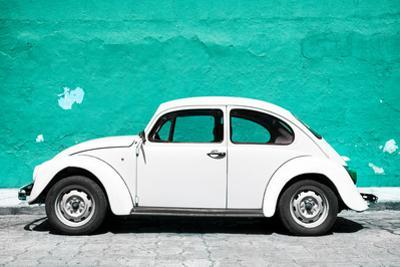 ¡Viva Mexico! Collection - White VW Beetle Car and Turquoise Street Wall