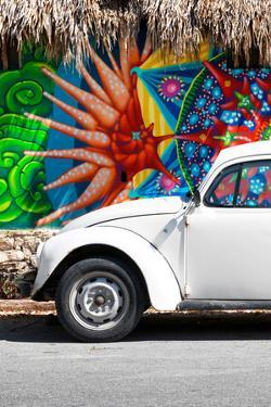 ¡Viva Mexico! Collection - White VW Beetle Car in Cancun II by Philippe Hugonnard